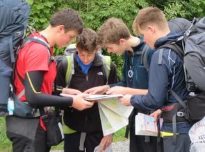 Sidcot Students Reading a Map